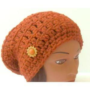 Handmade Crochet Hat Warm Rust Wool Acrylic SLOUCH